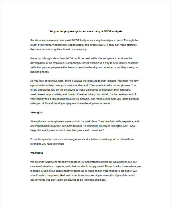 Employee SWOT Analysis Example