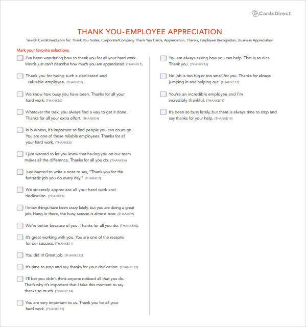 employee thank you appreciation letter