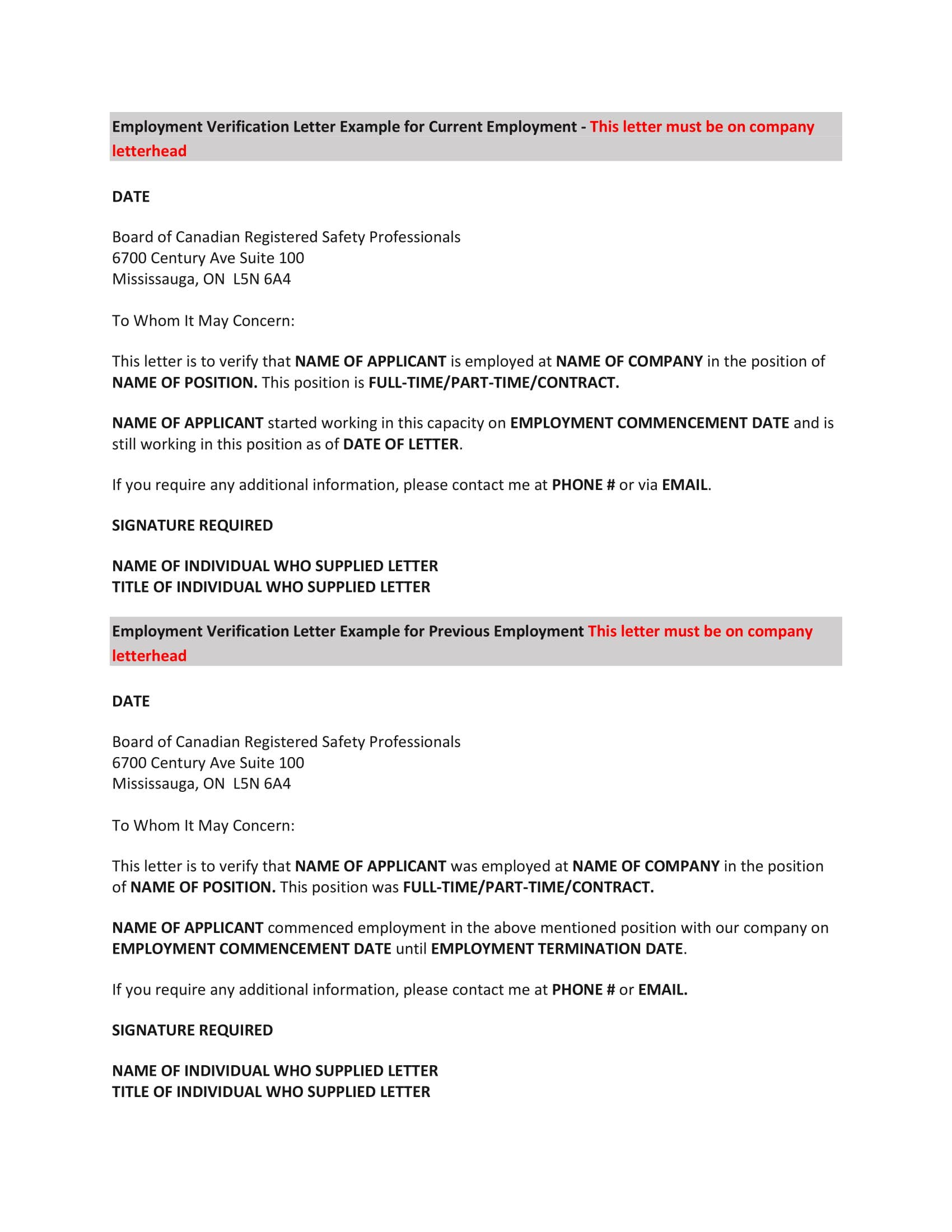 employment verification letter example 1