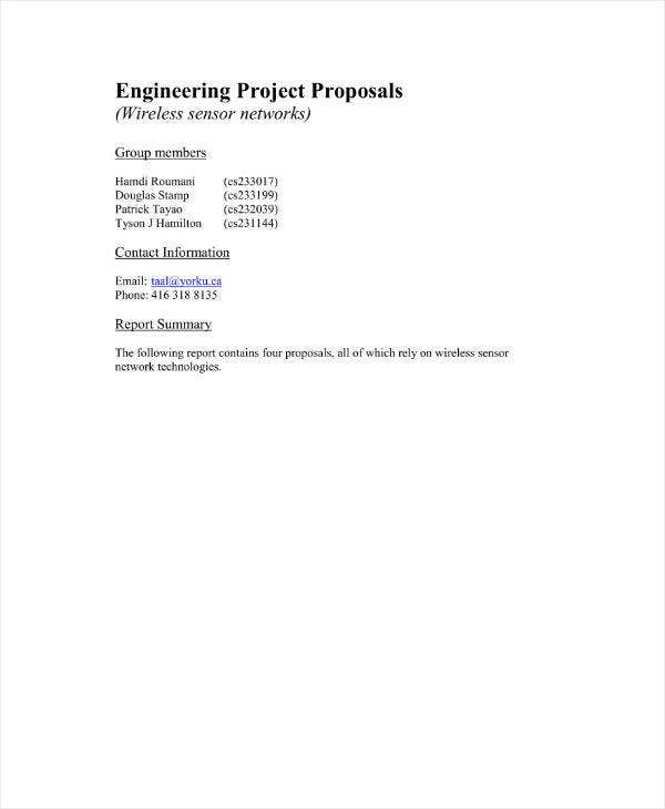 Engineering Project Proposal Example