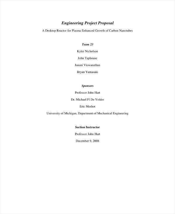 Example of Project Proposal for Engineering
