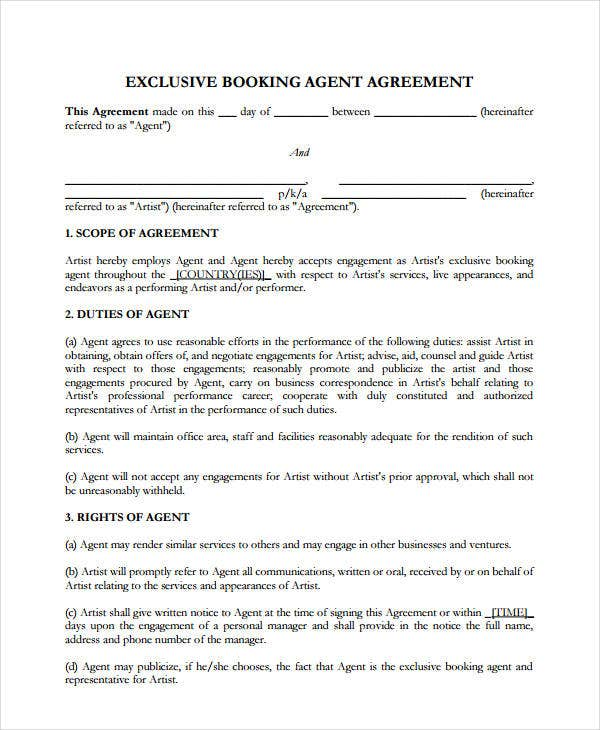 exclusive booking agent agreement