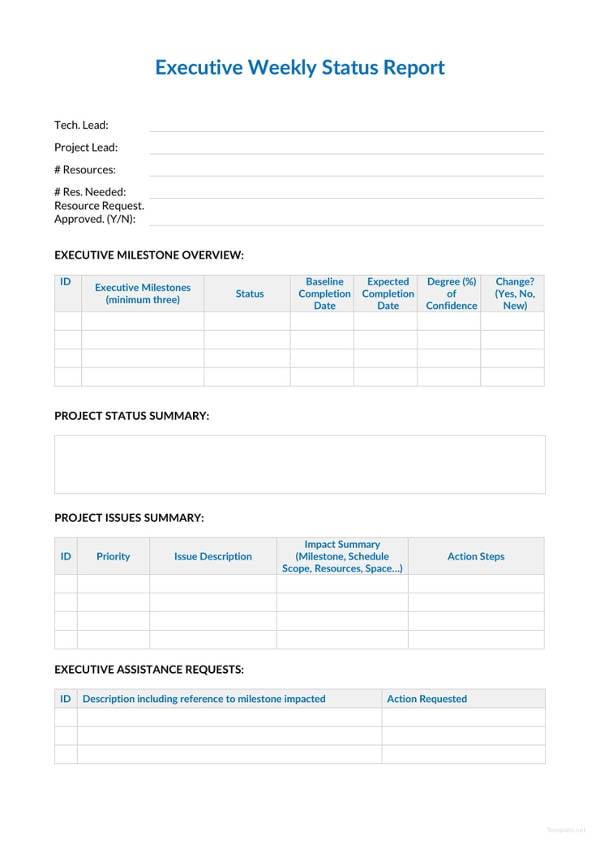 weekly status report sample