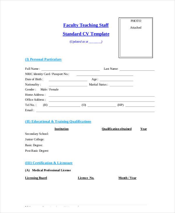 faculty teaching staff standard cv template