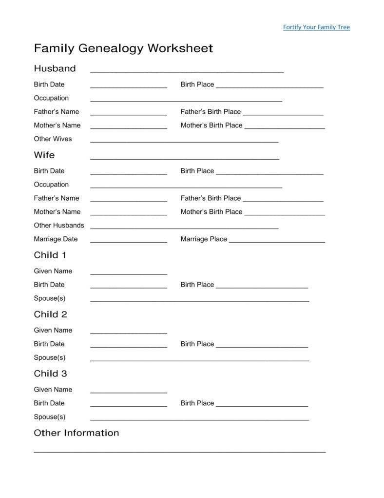family genealogy worksheet template