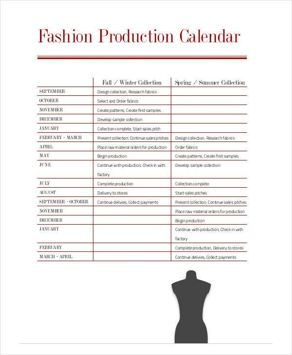 fashion production calender