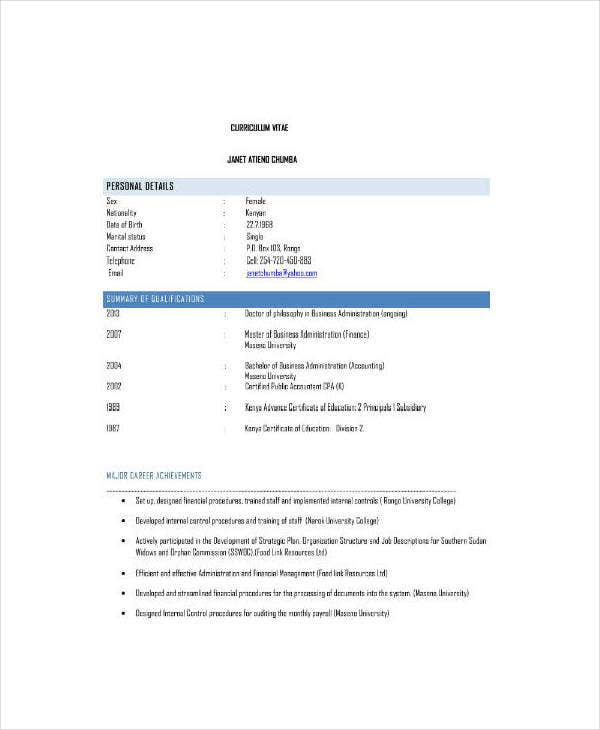 Finance Officer CV Example
