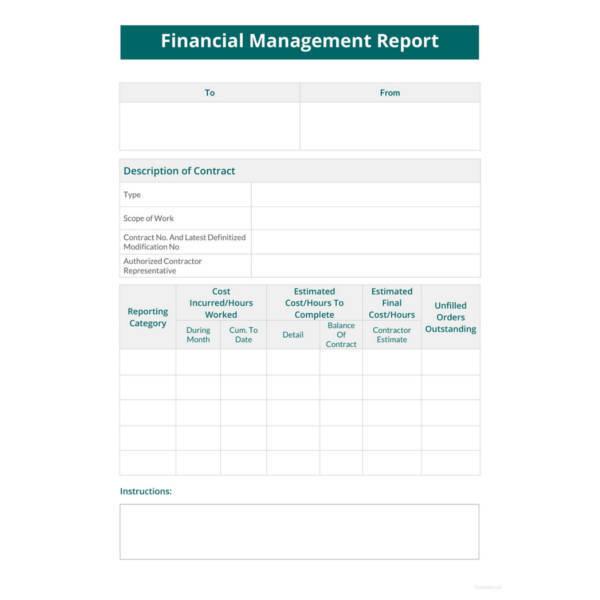 financial management report template
