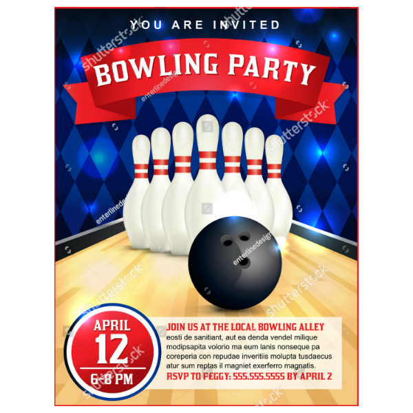 flat bowling party flyer invitation template