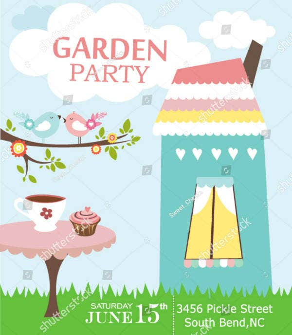 Flat Colorful Garden Party Invitation Template