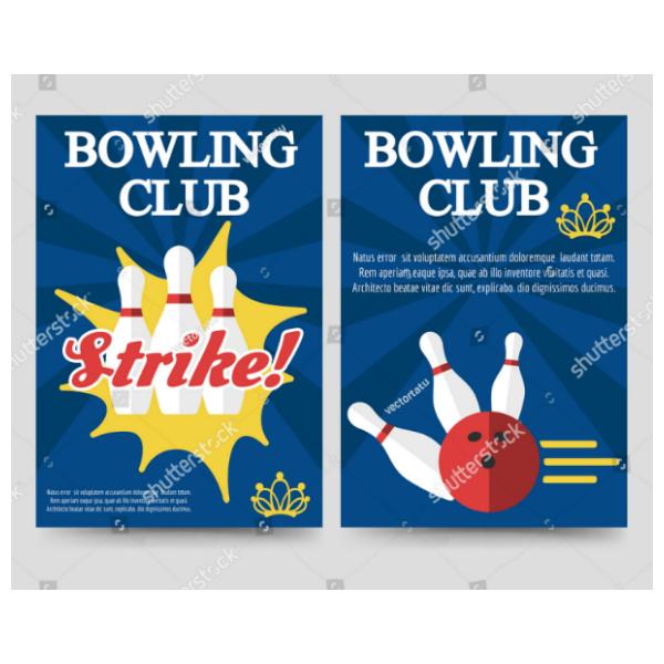 Flat Illustrations Bowling Club Brochure Template