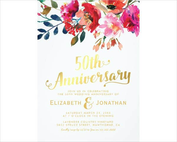 Floral 50th Wedding Anniversary Card