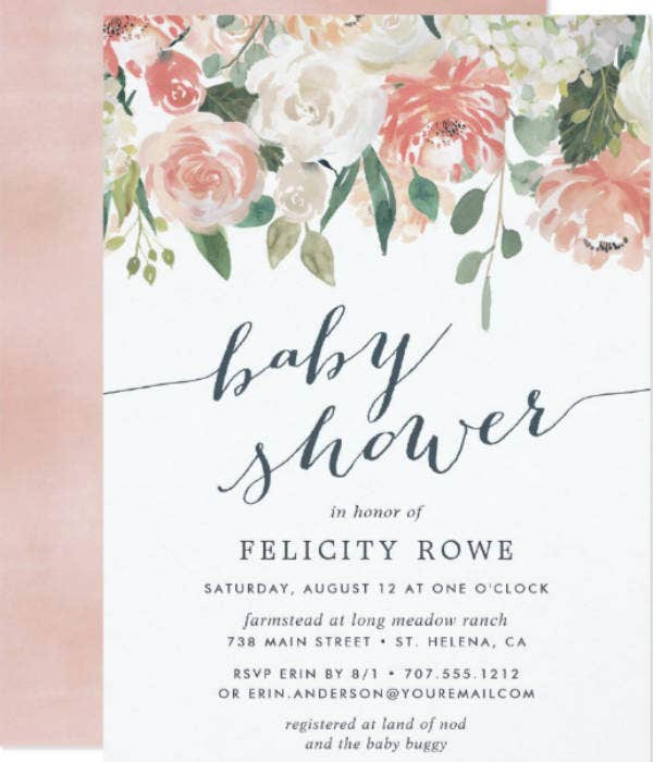 floral baby shower invitation example