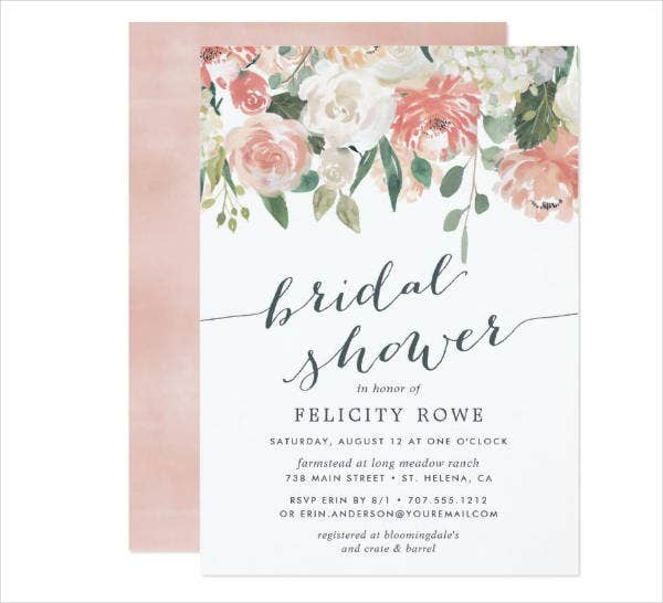 floral bridal shower invitation example