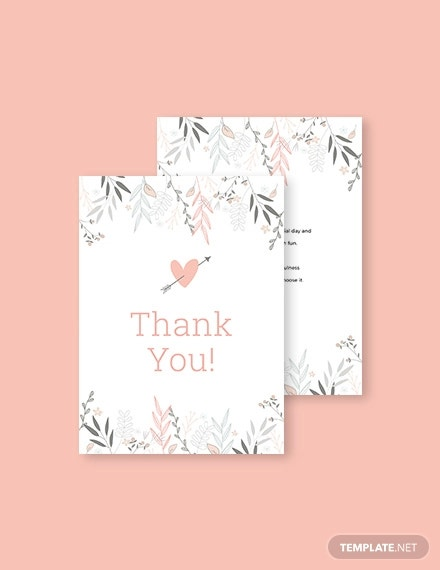 floral bridal shower thank you card template