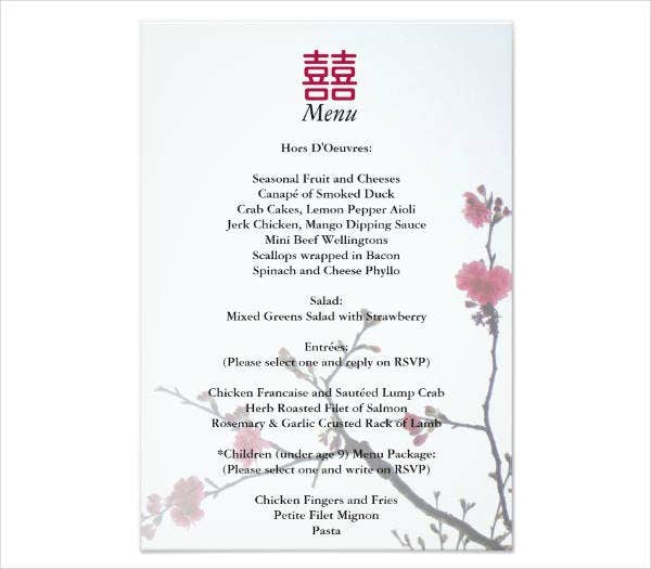 Floral Chinese Wedding Menu Template