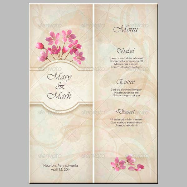 Floral Decorative Wedding Menu Template
