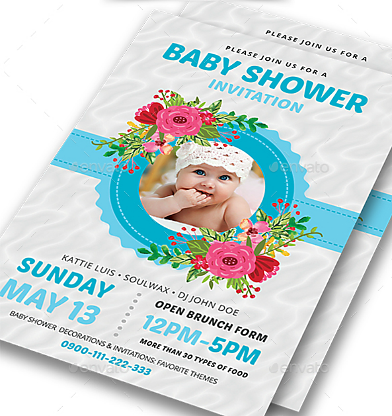 Floral Frame Baby Shower Invitation Template