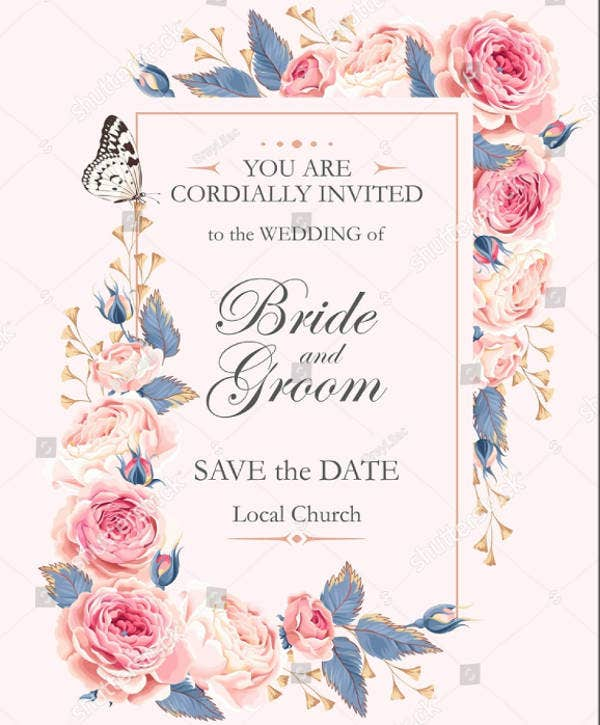Floral Frame Wedding Invitation Design