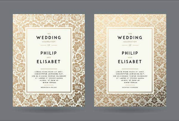 floral gold wedding invitation template
