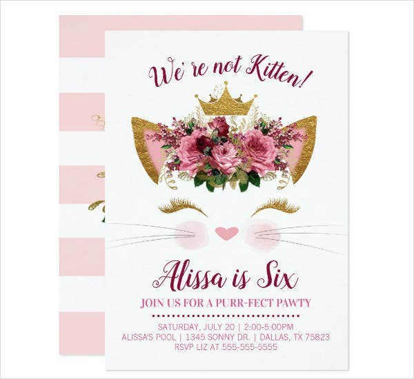 Floral Kitty Birthday Invitation