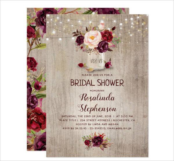 Floral Rustic Bridal Shower Card