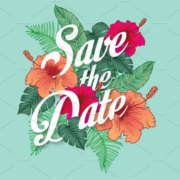 Floral Save The Date Party Invitation Design
