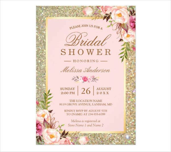 floral sparkles bridal shower card