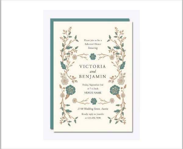 Floral Wedding Rehearsal Dinner Invitation
