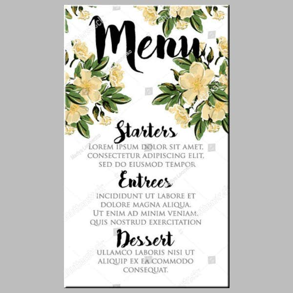 Flower Painting Wedding Menu Template
