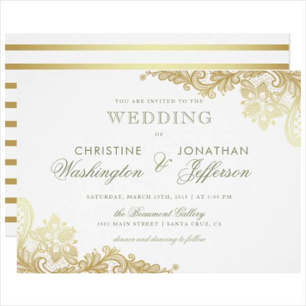 Foil Floral Lace Wedding Invitation