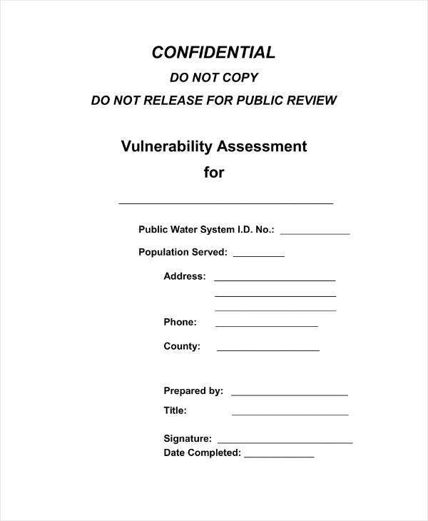 Formal Vulnerability Assessment Template