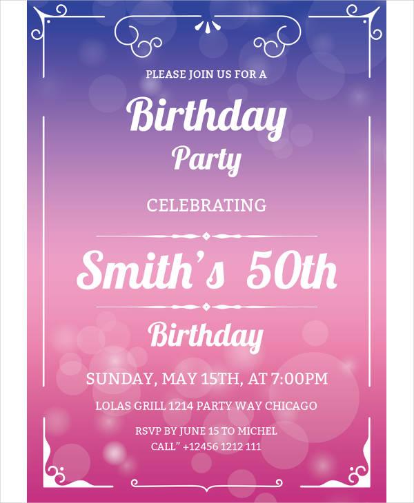 free 50th birthday invitation template