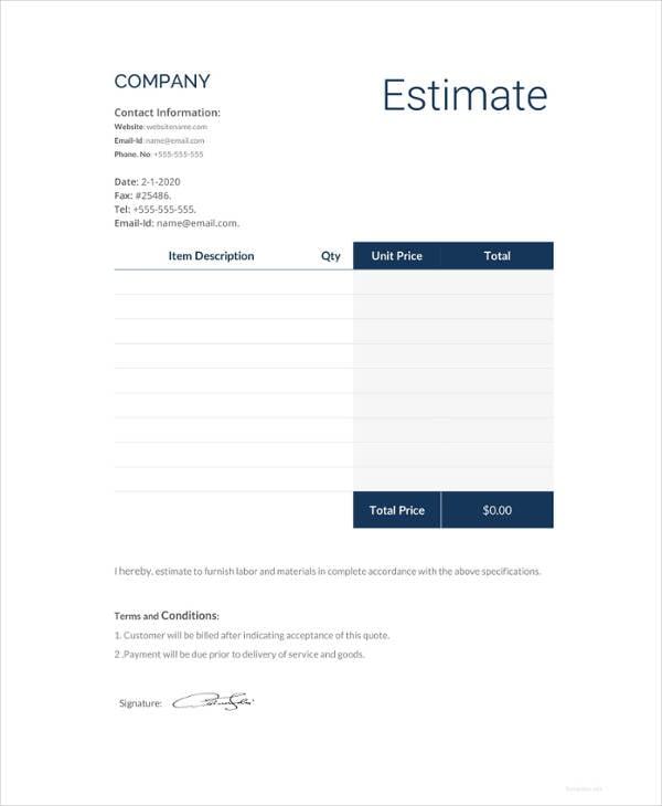 16 estimate template formats pdf doc xls free. Black Bedroom Furniture Sets. Home Design Ideas
