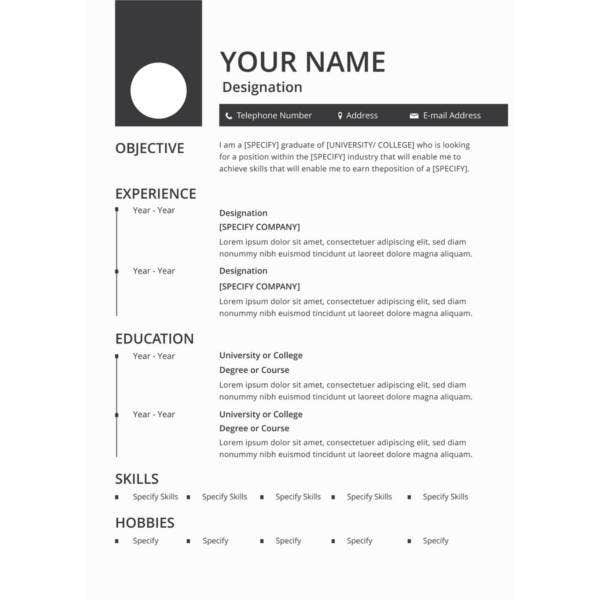 free blank resume template