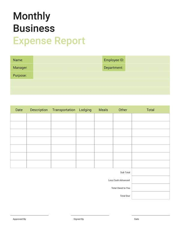 free business expense report