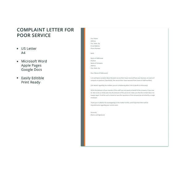 free complaint letter for poor service