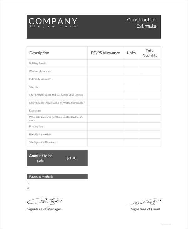 free construction estimate template