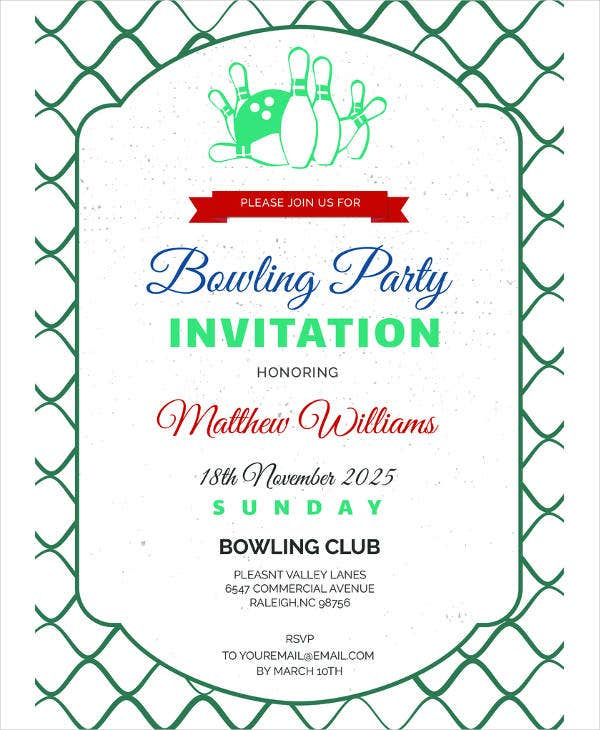 free corporate bowling invitation template