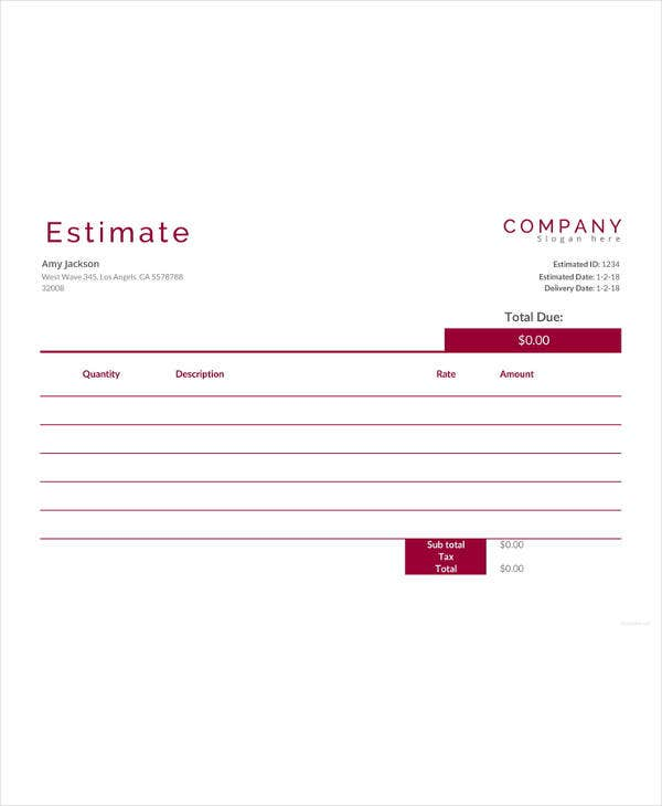 free cost estimate template