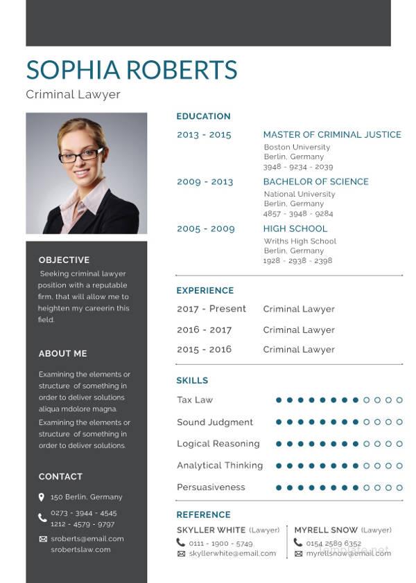 free criminal lawyer resume template