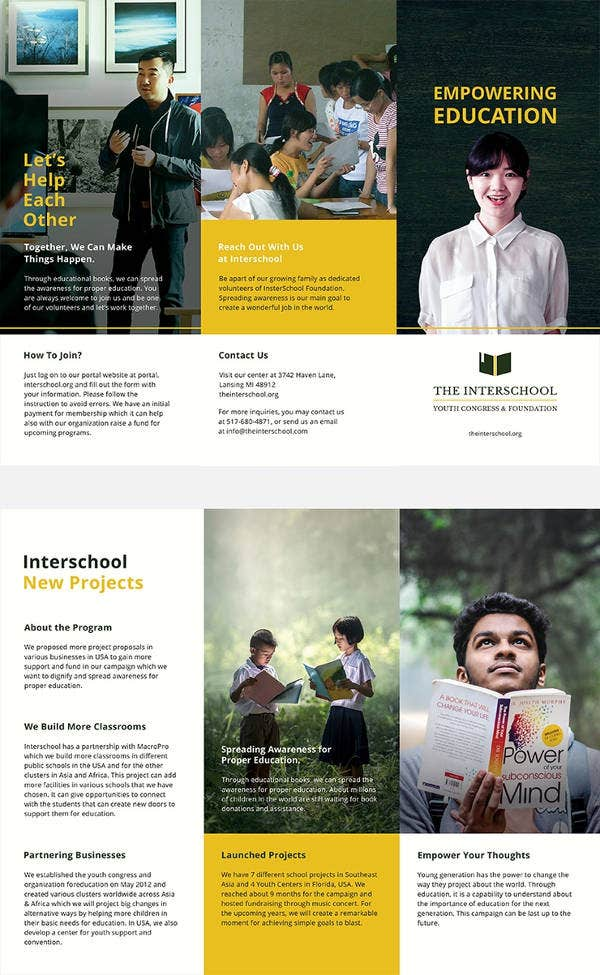 11 Education Tri Fold Brochures Design Templates Free