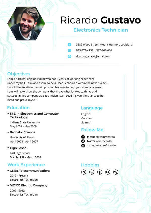 free electronic technician resume template