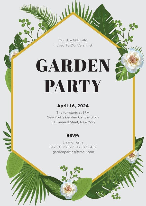 Free Garden Party Invitation Template