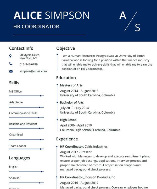 free hr resume format