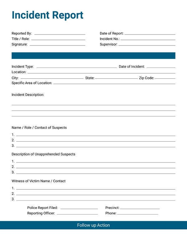 free incident report