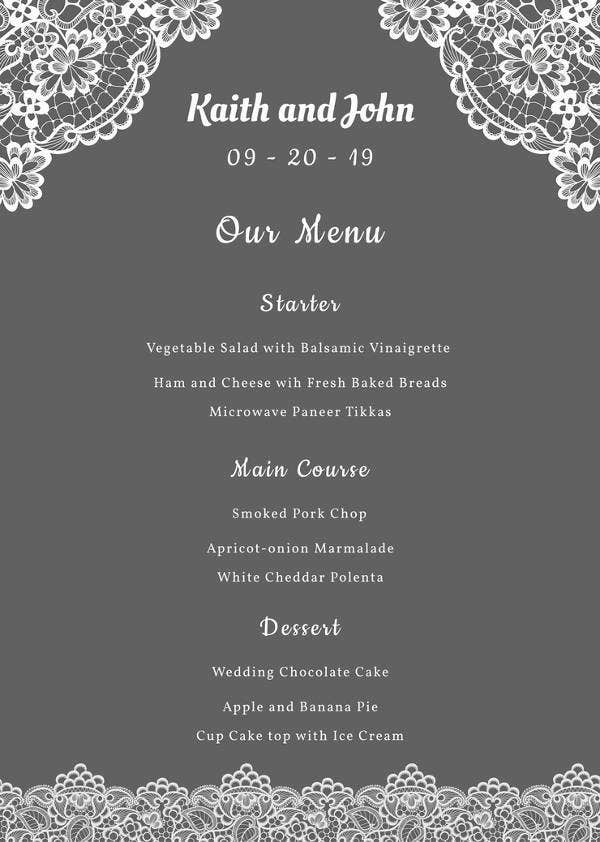 Free Lace Wedding Menu Template