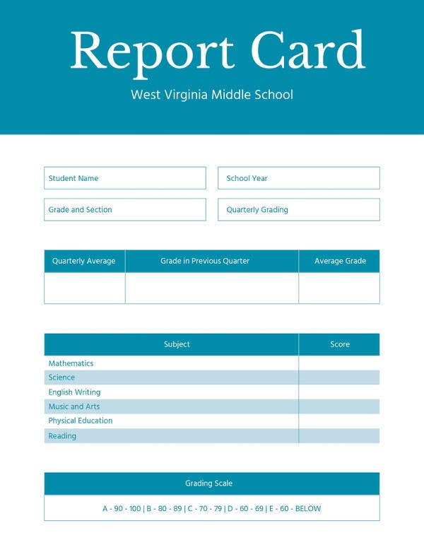 free middle school report card template