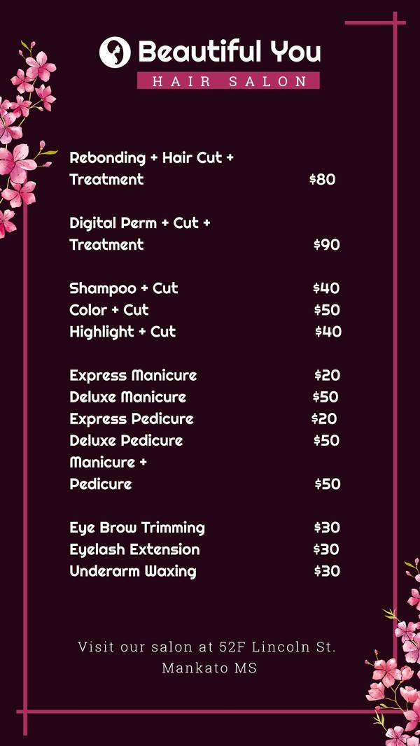 free price list digital signage template