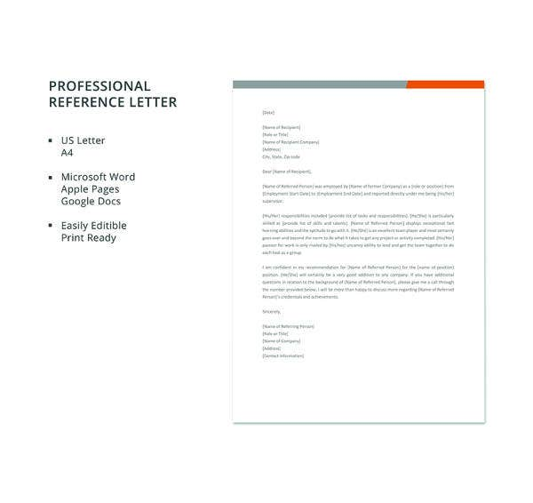 19 professional reference letter template free sample example